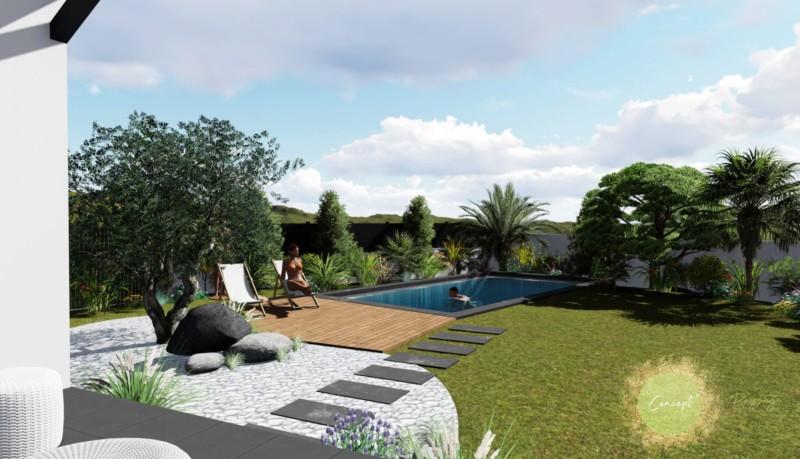 aménagement paysager de piscine avec une haie occultante