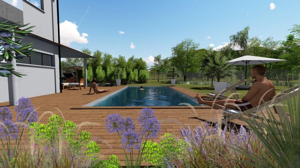 aménagement de piscine avec des massifs fleuris