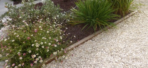 bordure bois pour délimiter un massif du jardin et les graviers de l'allée