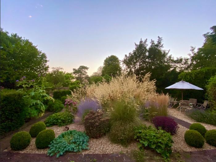 jardin minéral avec des graminées hautes