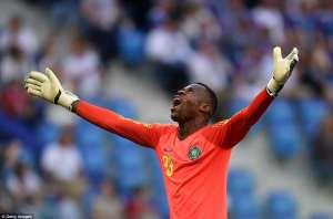 Francis Uzoho celebrates after Musa scores [www.amenradio.net]