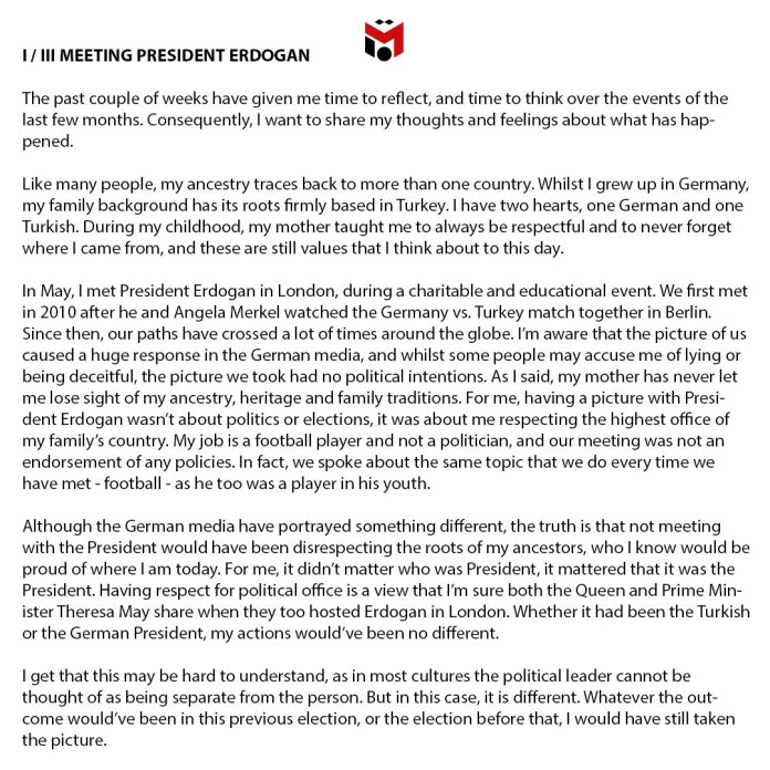 Mesut Ozil releases long statement on social media [www.amenradio.net]