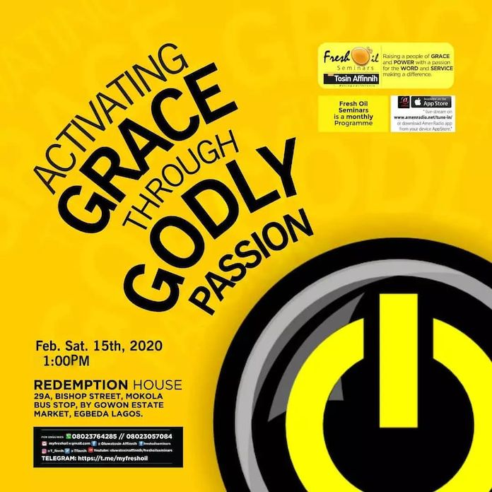 Sermon: Activating Grace Through Godly Passion [Part 1] - Tosin Affinnih