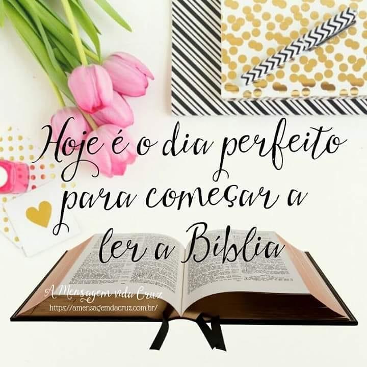 Leia a Bíblia - Biblia aberta com palavras de incentivo à leitura da Biblia Sagradab