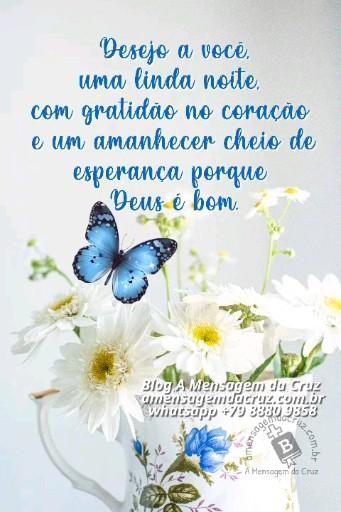 Linda Noite Com Gratidão - Desejo a você uma linda noite com gratidão no coração e um amanhecer cheio de esperança porque Deus é bom.