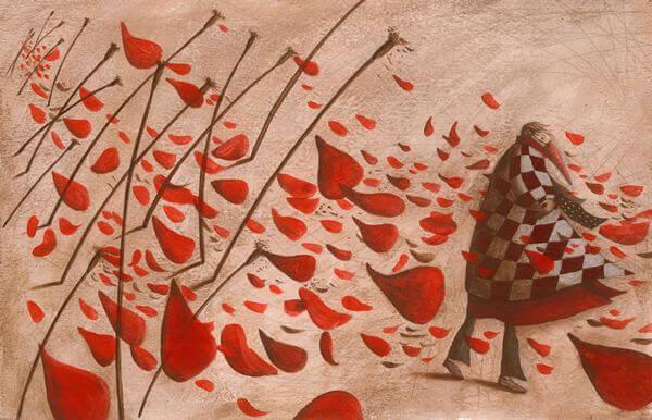 Mulher com vestido vermelho