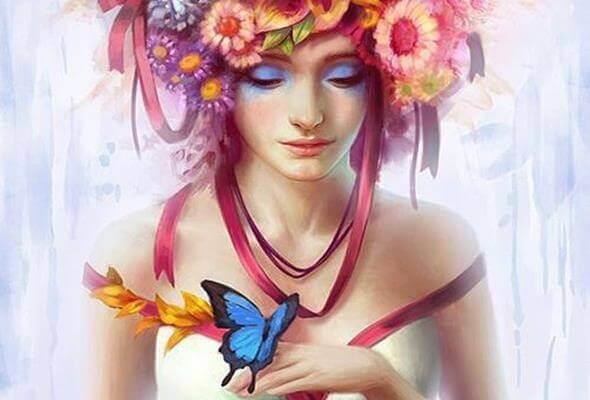 Mulher com flores na cabeça