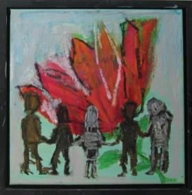 Fælles-ånd, Hellig-ånd (måler 30x30 cm.) Dette maleri er malet på en valgdag. Jeg skildrer fællesskabet, opløftet af en fælles-ånd. Vi er sammen om noget vigtigt, en hjertesag eller en udsprunget rose/blomst. Længst til højre er det som om en person holder om en anden. Trøster ham.