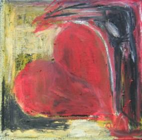 Under din vinges skygge (måler 20x20 cm.) Ud af ingenting vokser der en skikkelse og et hjerte (det maleri, jeg maler ovenpå forestiller én stor mørk flade). Skikkelsen har karakter af menneske men har samtidig fugletræk. Den breder sin ene vinge ud øverst, som så skjuler eller giver ly til et hjerte. Der er beskyttelse og ømhed under dens vinge. Titlen spiller på titlen til en kendt salme, som igen er inspireret af Salme 36 i Bibelen. Her tales der om Guds beskyttende vinger, men vi kan også tænke det som noget, der ydes fra eet menneske til et andet.
