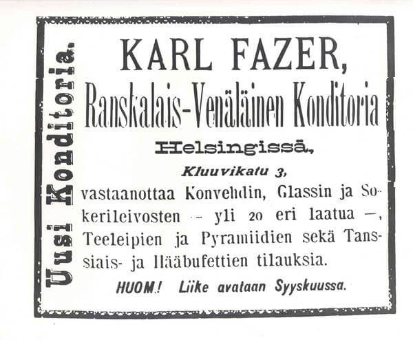 Karl Fazer Finland Opening Advertisement Helsinki