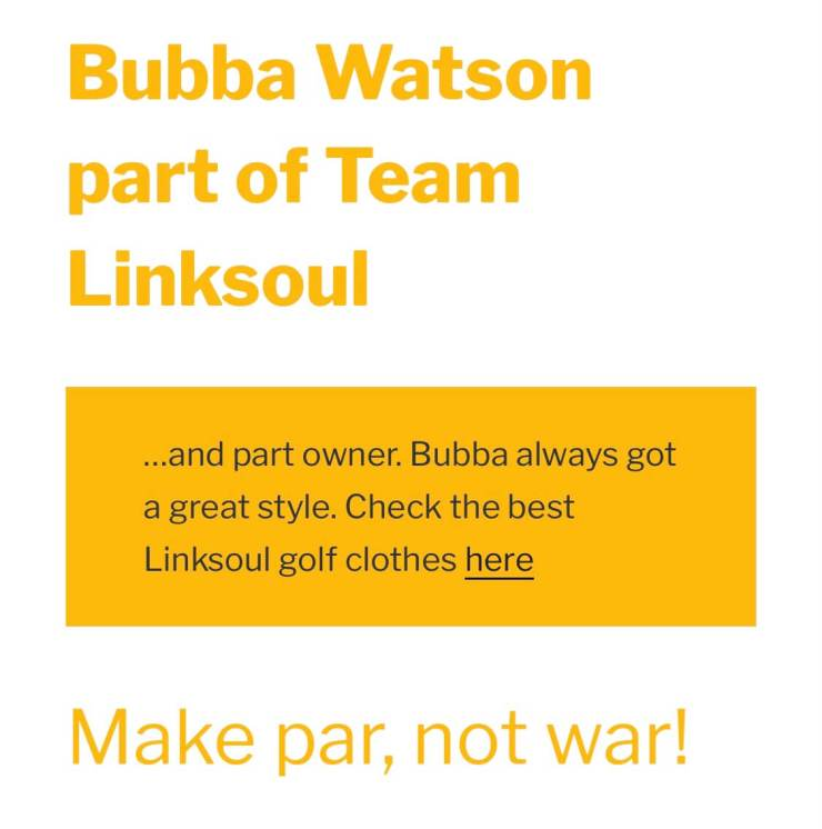 Bubba Watson Golf Linksoul Make Par No War