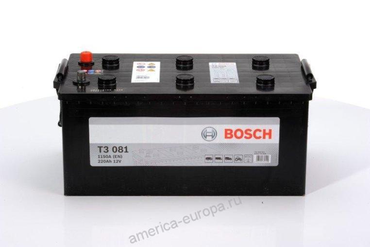 аккумулятор BOSCH 12V 220Ah + слева1150А