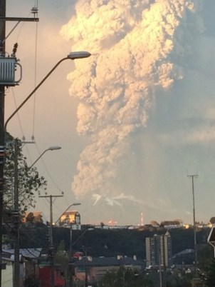 View from Puerto Varas, southern Chile, of a high column of ash and lava spewing from the Calbuco volcano, on April 22, 2015. Chile's Calbuco volcano erupted on Wednesday, spewing a giant funnel of ash high into the sky near the southern port city of Puerto Montt and triggering a red alert. Authorities ordered an evacuation for a 10-kilometer (six-mile) radius around the volcano, which is the second in southern Chile to have a substantial eruption since March 3, when the Villarrica volcano emitted a brief but fiery burst of ash and lava. AFP PHOTO/GIORDANA SCHMIDT BEST QUALITY AVAILABLE