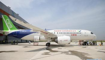 China's first domestically-produced jetliner to make its maiden flight