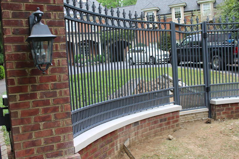 Metal and Brick Ornamental Residential Fence   America Fence