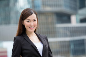 Businesswoman with business background