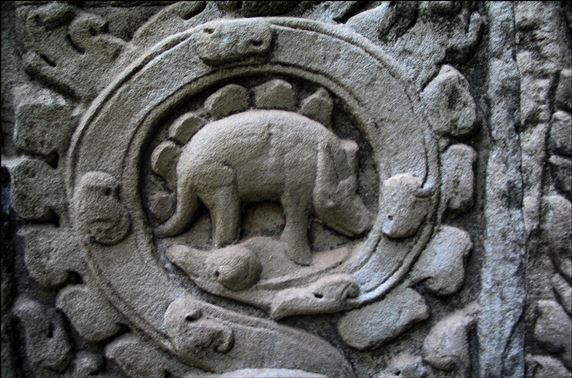 Old world relief of Angkor Stegosaurus