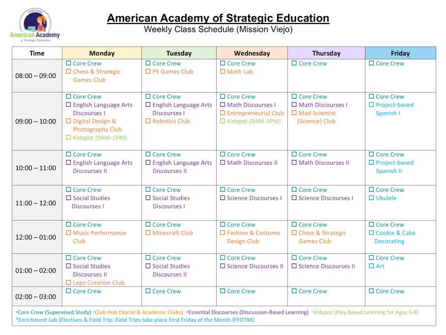 AASE_Class_Schedule_2018-19