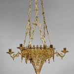 Brass Gothic-Revival Chandelier