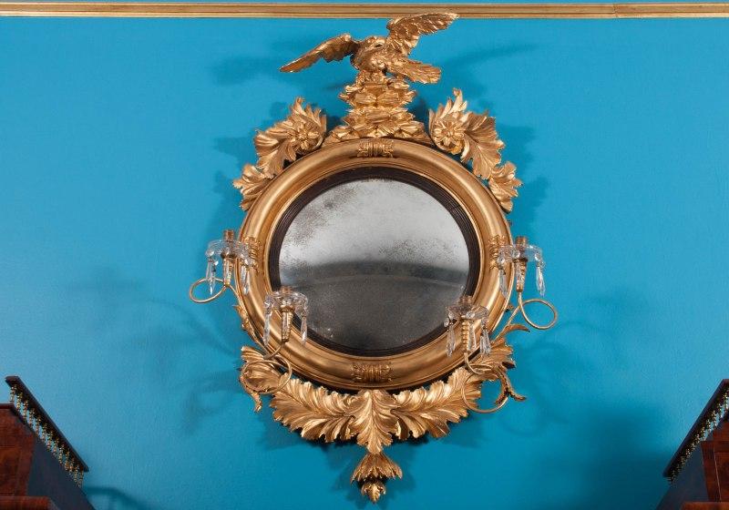 Convex Bull's-Eye Girandole Mirror