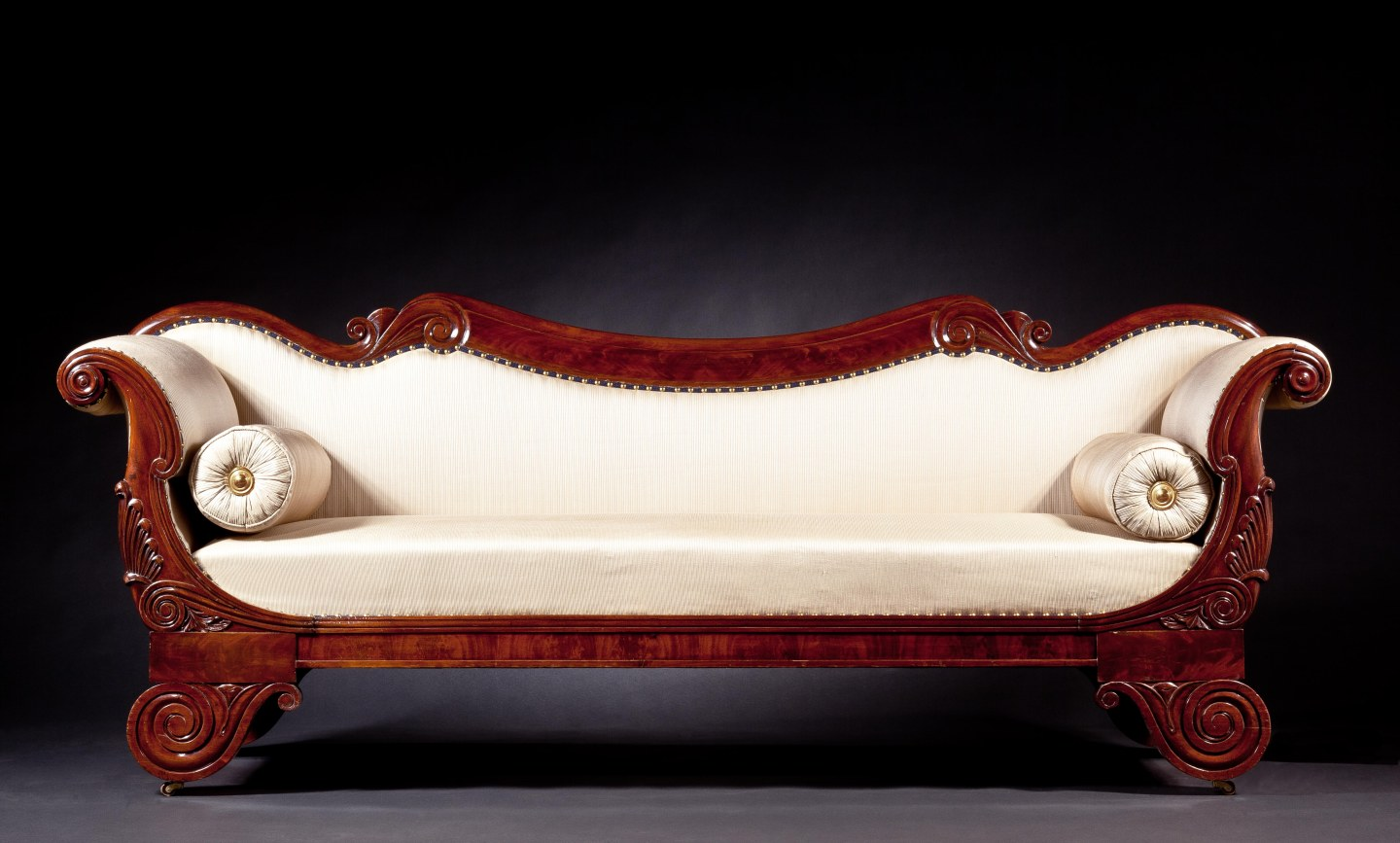 Restauration Carved Mahogany Grecian Sofa
