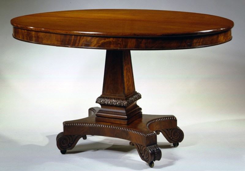Oval Carved Mahogany Occasional Table