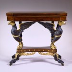 Parcel-Gilt Eagle-Carved Rosewood Card Table by Duncan PHyfe