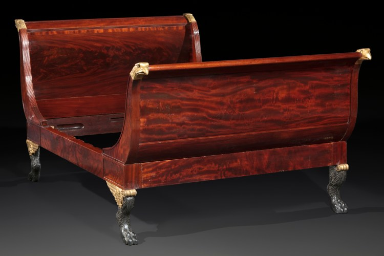 Sleigh Bed with Eagle Heads by Duncan Phyfe