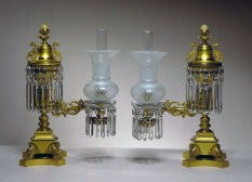 Pair of Lacquered Brass Argand Lamps by Cornelius