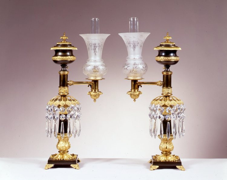 Pair of Brass Argand Lamps