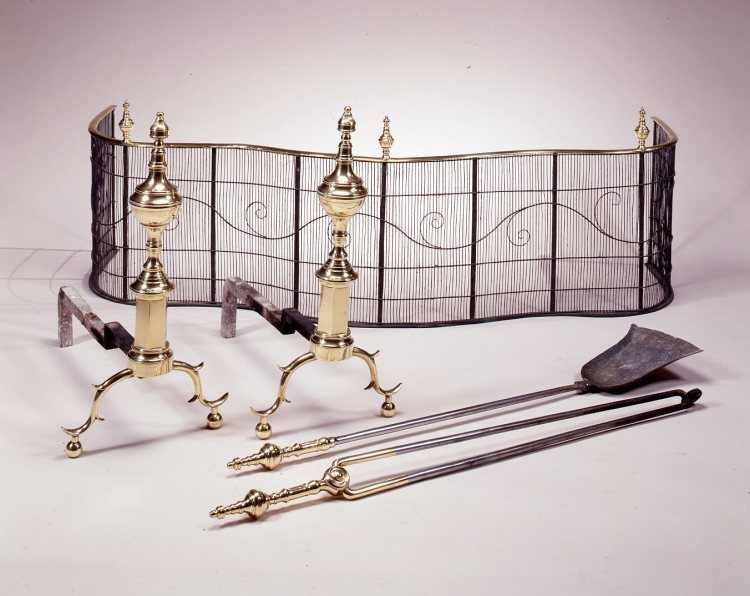 Brass Andirons with matching tools by David Phillip