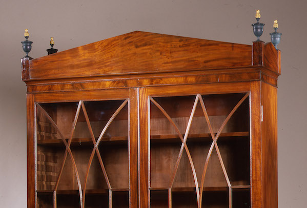 Federal Sheraton Carved Mahogany Bookcase