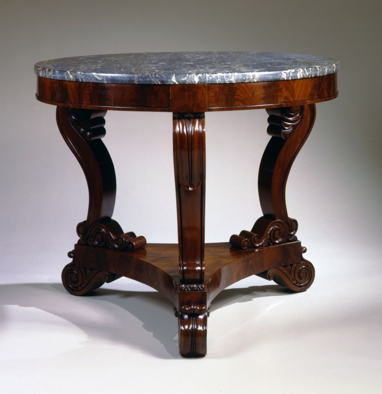 Boston Mahogany Restauration Gueridon with Egyptian Marble Top