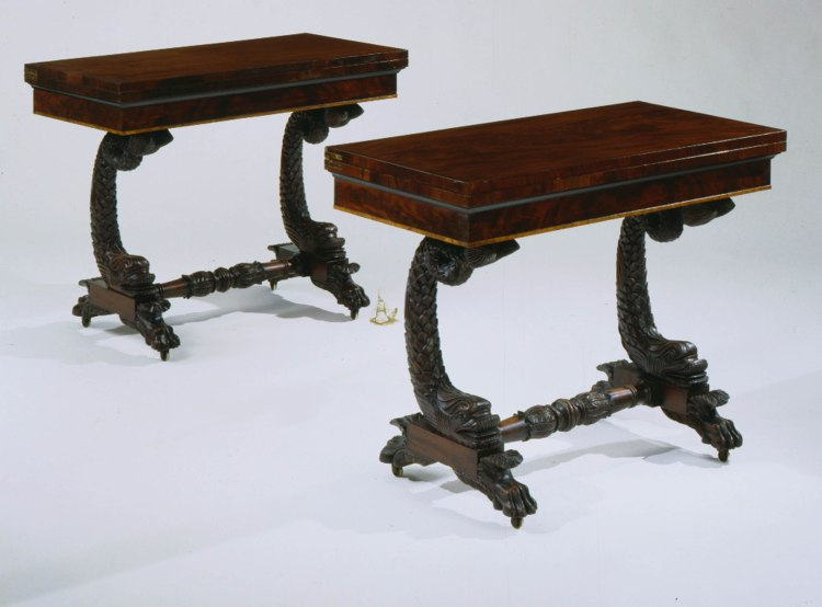 Pair of Carved Mahogany Dolphin-base Games Tables