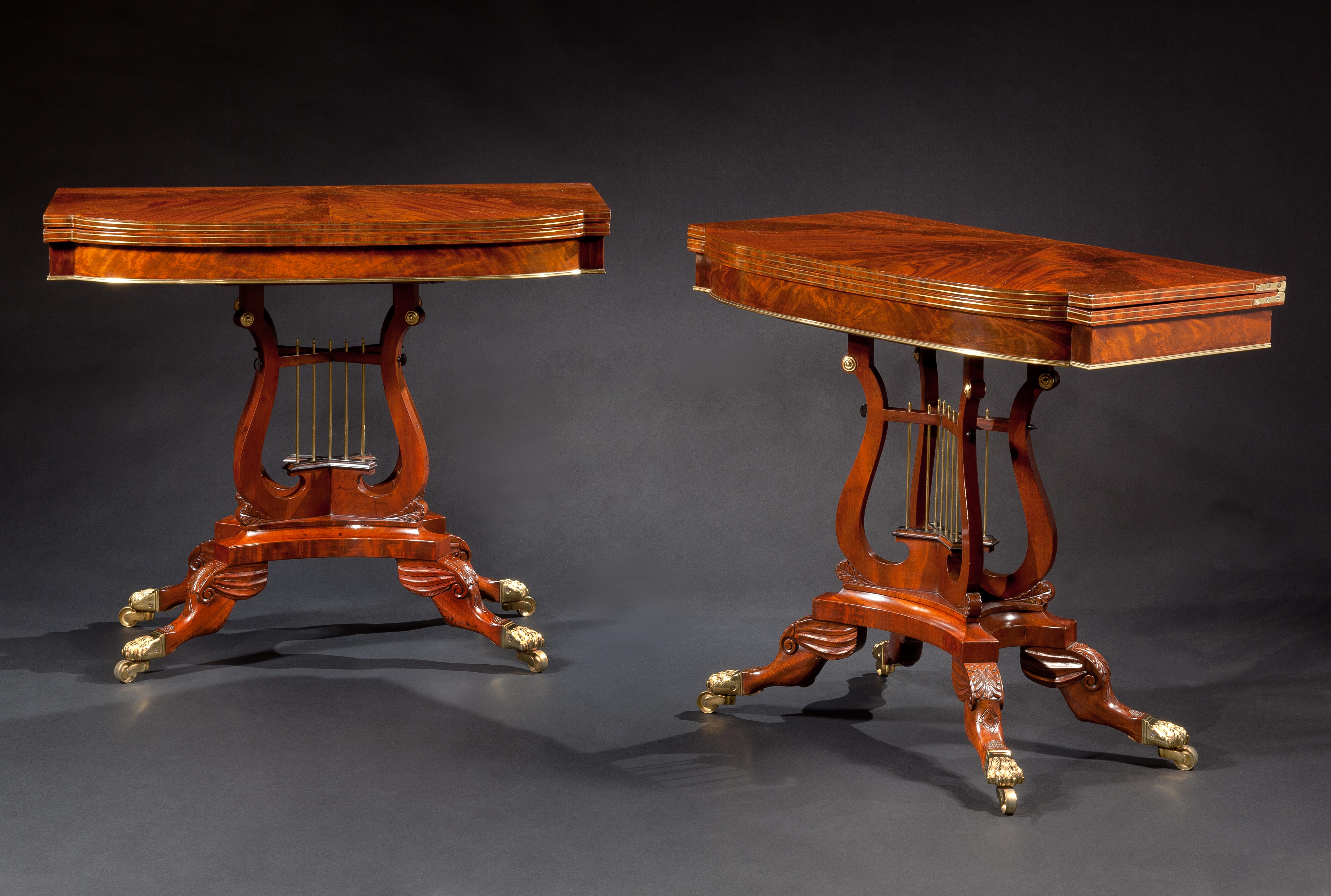 T-Cd-lyre Base Card Tables Pair #1 Corrected together