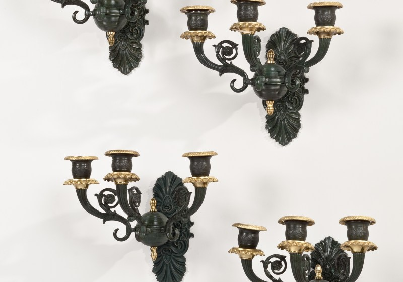 Set of Four Patinated Bronze Wall Lights