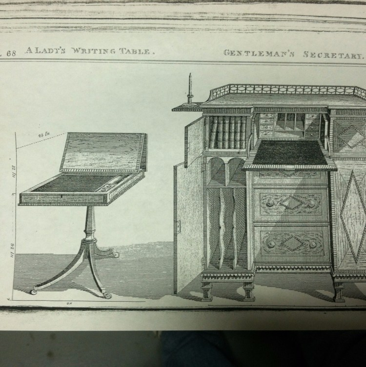 "Thomas Sheraton's design for ""a Lady's Writing Table"",  Cabinet Dictionary (London, 1803)."