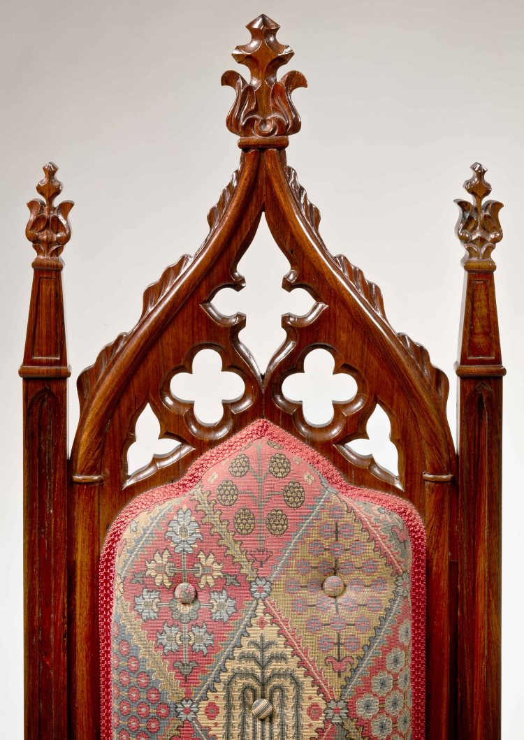 Pair of Rosewood Gothic Revival Slipper Chairs: Detail of Gothic crest rail with quatrefoils and milk-thistle finials.