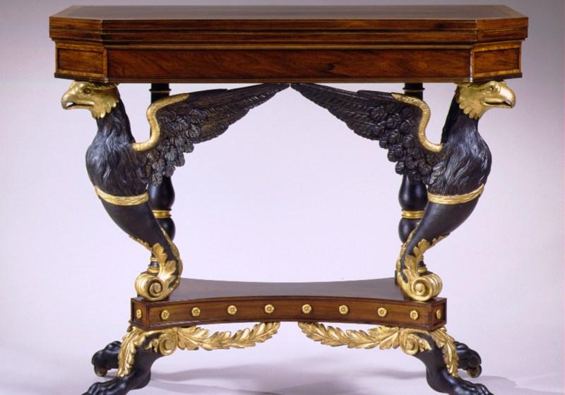 Eagle-Carved Parcel-Gilt Card Table by Duncan Phyfe