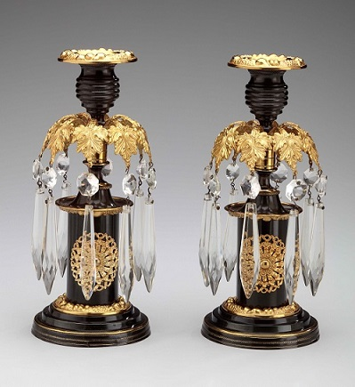 L-Regency Lacquered Brass Candlesticks with Glass Prisms