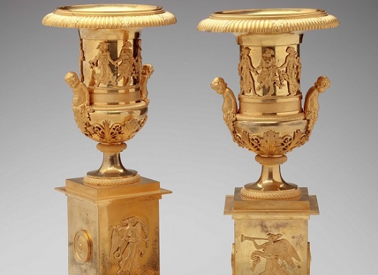 Pair of Gilt-Bronze Urns by Pignot