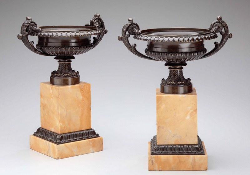 Bronze Urns on Sienna Marble Bases