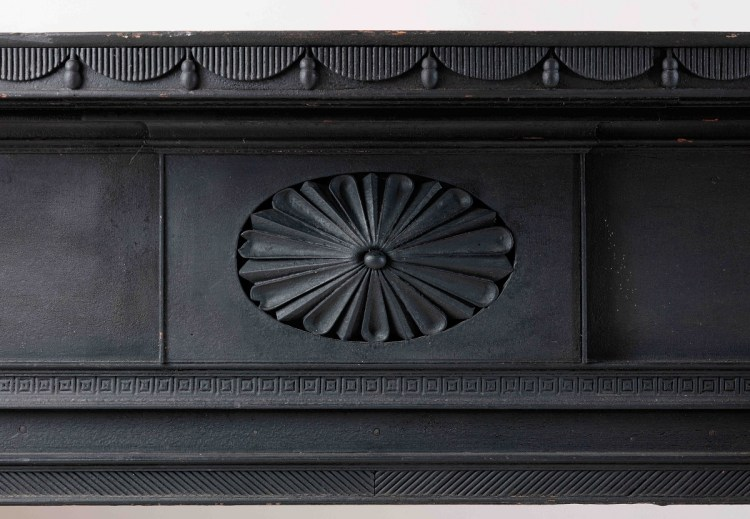 Federal Carved and Painted Mantelpiece detail of Fan rosette