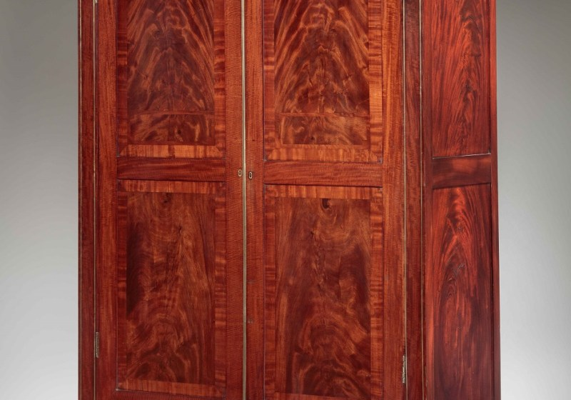 Classical Brass Inlaid Mahogany Armoire or Wardrobe