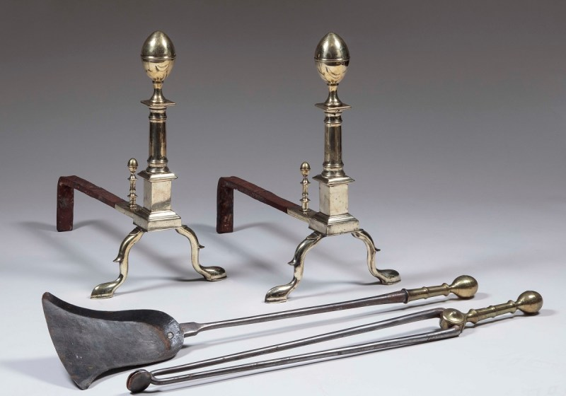 Brass Andirons by John Molineux