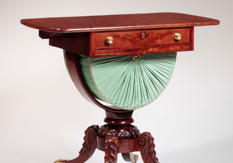 Carved Mahogany Work Table with Drop-Leaves up, Boston, c. 1815