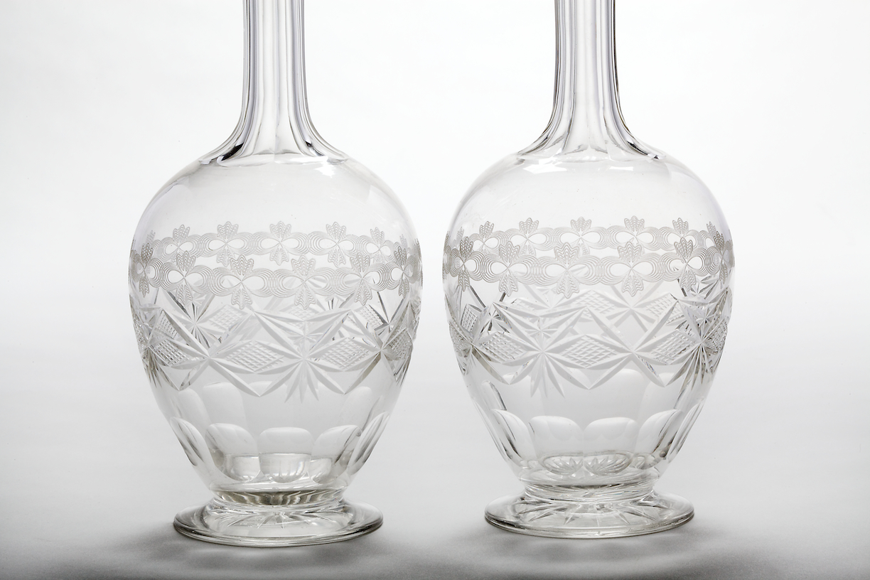 Pair of Colorless Cut Glass Decanters England, 4th quarter 19th century H: 11""
