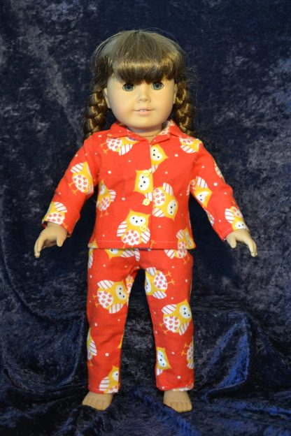 Red Yellow Owl Print Pajamas for 18 Inch Dolls