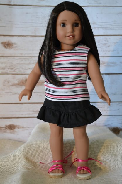 Striped Top-Black Skirt