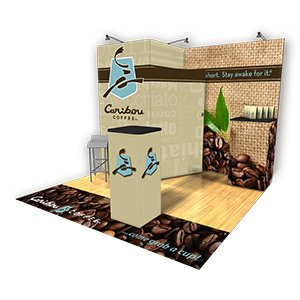 10x10 trade show booth with instep printed carpet strip graphics